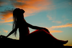 Silhouette Woman Braids Sit Head Back Royalty Free Stock Images