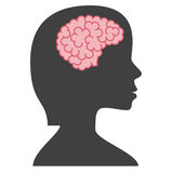 Silhouette woman with brain Royalty Free Stock Images