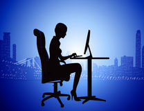 Silhouette woman for computer on background. Illustration silhouette woman for computer on background of the night city Stock Photography