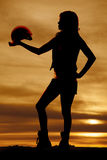 Silhouette of woman construction sunset hold hat Stock Photos