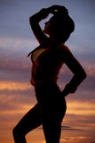 Silhouette woman country hat head Stock Photos