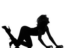 Silhouette woman crouching roar. Full length silhouette in shadow of a young woman crouching  roar in studio on white background isolated Royalty Free Stock Photos