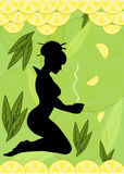 Silhouette of a woman with cup of lemon tea in her. Silhouette of a woman with cup of tea in her hands on background of lemons and tea leaves Royalty Free Stock Photo