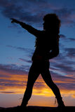 Silhouette woman curly hair side pointing Stock Photos