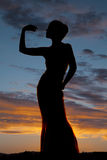 Silhouette woman curve hand up Royalty Free Stock Photos
