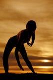 Silhouette woman dance bend forward lean Royalty Free Stock Photo