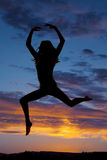 Silhouette woman dance jump Royalty Free Stock Photography