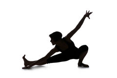 Silhouette of woman dancer stock photos