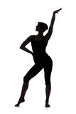 Silhouette of woman dancer stock image