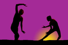 Silhouette woman dancing hands to side look side Stock Image