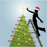 Silhouette Woman Decorates Christmas Tree stock illustration