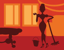 Silhouette Woman doing housework on room background - retro post Royalty Free Stock Image