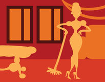 Silhouette Woman doing housework on room background - retro post Royalty Free Stock Photo