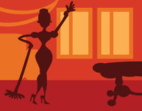 Silhouette Woman doing housework on room background - retro post Royalty Free Stock Photography