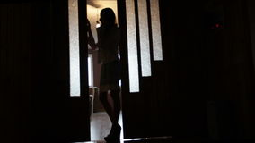 Silhouette of a woman in a doorway front of the window stock video
