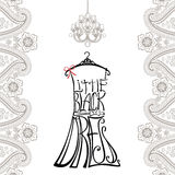 Silhouette of woman dress from words with paisley border Stock Photo
