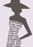 Silhouette of woman in dress from words. Royalty Free Stock Photos