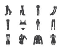 Silhouette woman and female clothes  icons Stock Photo