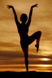Silhouette woman fitness bird leg up Stock Photo