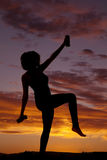 Silhouette woman fitness crane weights Stock Photos