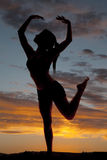 Silhouette woman fitness dance leg up Royalty Free Stock Images