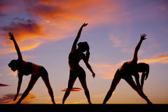 Silhouette woman fitness dance treo Royalty Free Stock Photography