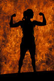 Silhouette of woman fitness flex look to side Royalty Free Stock Photo