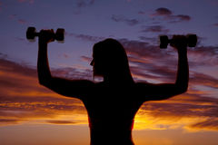 Silhouette woman flex back close Royalty Free Stock Images