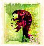 Silhouette of woman on the floral background royalty free illustration