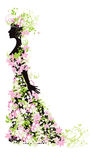 Silhouette of woman with flowers Stock Images