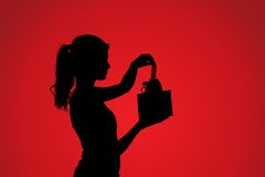 Silhouette of woman with gift Royalty Free Stock Photography