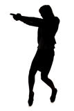 Silhouette of woman with handgun. On white background royalty free stock photography