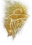 Silhouette of woman in the hat and with long hair of golden glitter on white background Royalty Free Stock Photos