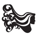 Silhouette of a woman head with long waving hair Stock Image
