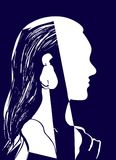 Silhouette of woman head. Profile of a beautiful young girl with long hair. Blue and white vector illustration. Fashion concept. Geometrical abstract drawing Royalty Free Stock Image