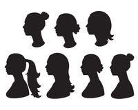 silhouette of woman head stock photos