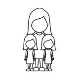 Silhouette woman her girls twins icon Royalty Free Stock Photo