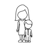 Silhouette woman with her son Stock Image