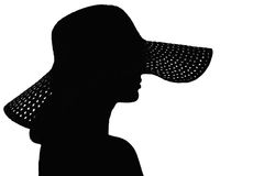 Silhouette of a woman hiding her face under a hat. Black and white portrait silhouette of a young graceful woman hiding her face under a hat on a white Royalty Free Stock Image