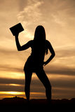 Silhouette woman hold up one book sunset Stock Photography