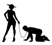 Silhouette of woman holding man on a leash stock illustration