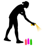 Silhouette woman holding a spray on a white background. Vector illustration Stock Images