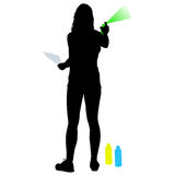 Silhouette woman holding a spray on a white background. Vector illustration Stock Photography