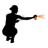 Silhouette woman holding a spray on a white background. Vector illustration Royalty Free Stock Image