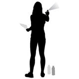 Silhouette woman holding a spray on a white background. Vector illustration Stock Image