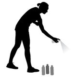 Silhouette woman holding a spray on a white background. Vector illustration Royalty Free Stock Photo