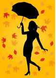 Silhouette of woman holding an umbrella Royalty Free Stock Image