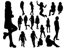 Silhouette of a woman. Isolated silhouette teen girl collection Royalty Free Stock Photo
