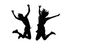 Silhouette woman jump Royalty Free Stock Photos