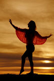 Silhouette woman lace top dance Stock Photos